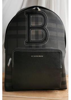 Кожаный чёрный рюкзак 40x30 см