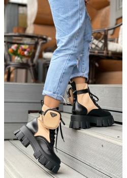 Кожаные женские ботинки - Black / Beige
