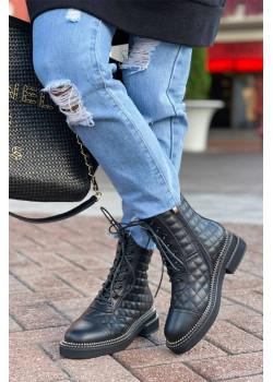 Кожаные брендовые ботинки чёрного цвета
