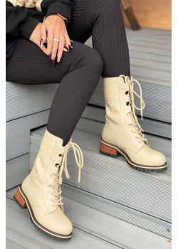 Кожаные высокие ботинки бежевого цвета