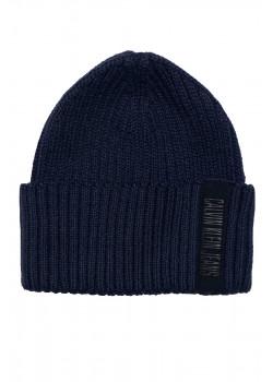 Мужская брендовая шапка тёмно-синего цвета