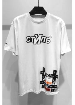 """Белая оверсайз футболка """"Стиль"""""""