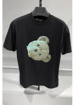 Чёрная оверсайз футболка с рваной отделкой