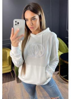 Женское брендовое худи белого цвета