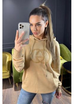 Женское брендовое худи бежевого цвета
