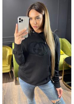 Женское брендовое худи чёрного цвета
