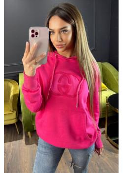 Женское брендовое худи розового цвета