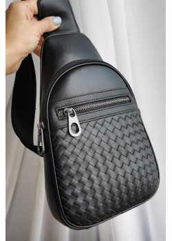 Кожаная чёрная сумка 28x18 см