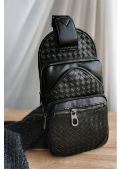 Кожаная чёрная сумка 33x17 см