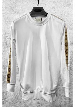 Брендовый мужской свитшот белого цвета
