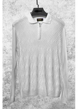 Классическая мужская кофта белого цвета
