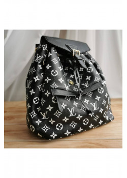 Брендовый кожаный рюкзак 27x33x14 см - Black