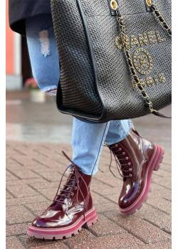 Бордовые кожаные ботинки