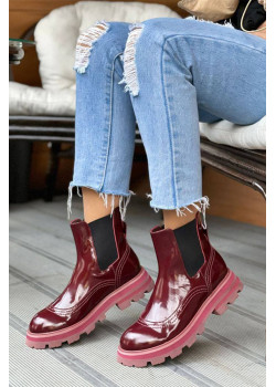Кожаные бордовые ботинки