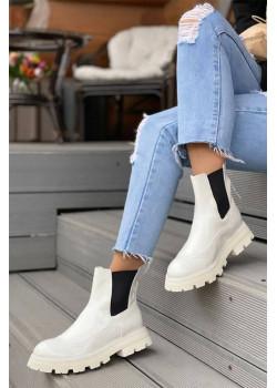 Кожаные белые ботинки