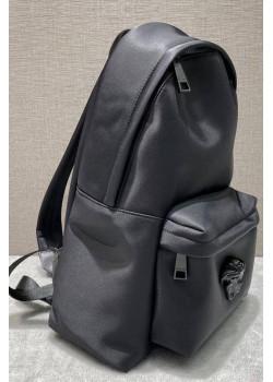 Кожаный чёрный рюкзак 40x30x10 см