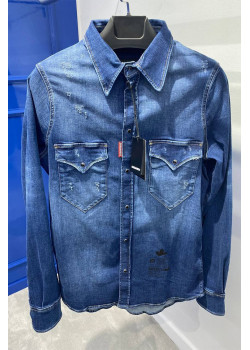 Мужская джинсовая рубашка синего цвета