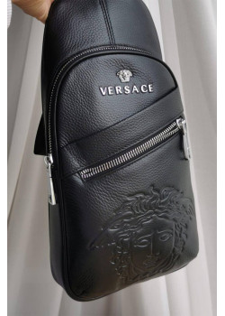 Кожаная чёрная сумка 33x18 см