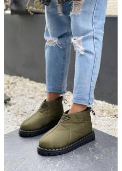 Женские стёганые ботинки зелёного цвета