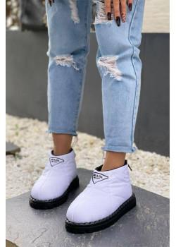 Женские стёганые ботинки фиолетового цвета