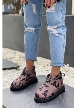 Женские стёганые ботинки цвет камуфляж