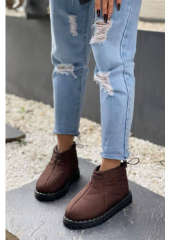 Женские стёганые ботинки коричневого цвета