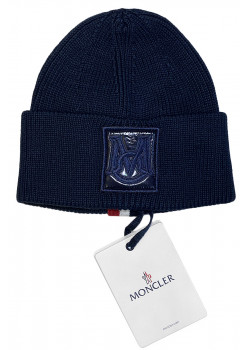 Брендовая тёмно-синяя шапка