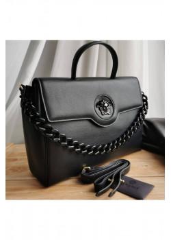 Кожаная чёрная сумка 35x25 см