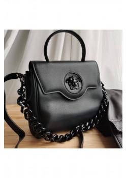 Кожаная чёрная сумка 25x22 см