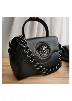 Кожаная чёрная сумка 20x17 см