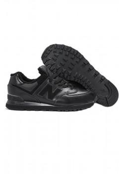 Зимние кроссовки с мехом 574 чёрного цвета