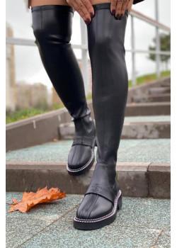 Женские кожаные ботфорты чёрного цвета