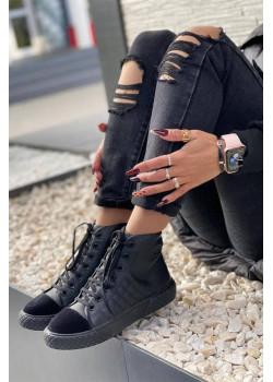 Кожаные брендовые кроссовки чёрного цвета
