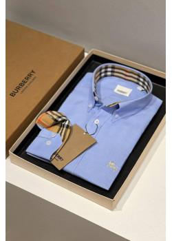 Классическая мужская рубашка синего цвета