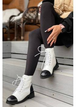 Брендовые кожаные ботинки белого цвета