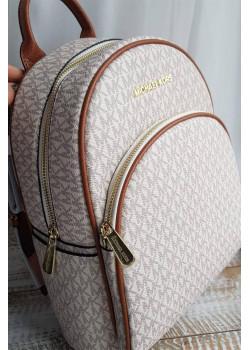 Кожаный белый рюкзак 29x25 см