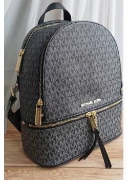 Кожаный чёрный рюкзак 32x27 см