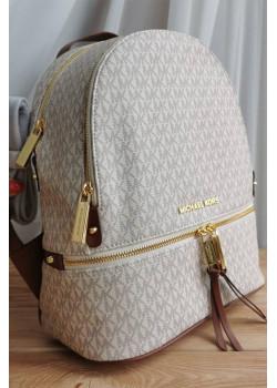 Кожаный белый рюкзак 32x27 см