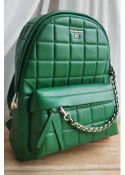 Кожаный зелёный рюкзак 32x28 см