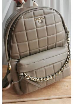 Кожаный бежевый рюкзак 32x28 см