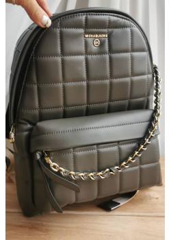 Кожаный серый рюкзак 32x28 см