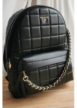 Кожаный чёрный рюкзак 32x28 см