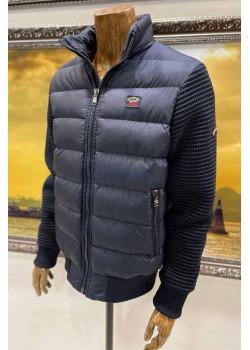 Тёмно-синяя куртка с вязанными рукавами