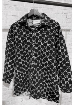 Утеплённая женская рубашка чёрного цвета