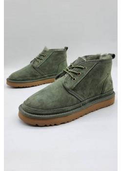 Зимние женские ботинки зелёного цвета