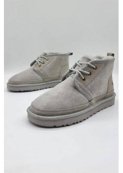 Зимние женские ботинки светло-серого цвета