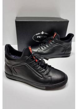 Мужские зимние ботинки чёрного цвета
