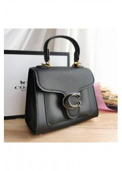 Кожаная чёрная сумка Coach 17x20 см