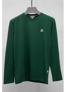 Мужской брендовый лонгслив зелёного цвета