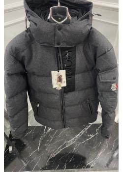 Утеплённая драповая куртка тёмно-серого цвета